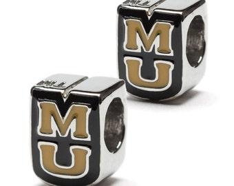 "Missouri ""MU"" Gold and Black Bead Charm - Set of Two - Stainless Steel - Fits Pandora"