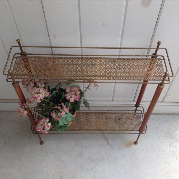 Long Thin Planters: Vintage Plant Stand Metal And Wood With 2 Shelves Long Thin