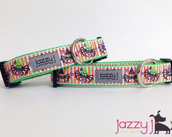 Striped Glitter Dancing Spiders Halloween Dog Collar