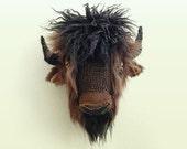 Bison, Buffalo Animal Head -  Faux Taxidermy, knitted wall art, soft sculpture, home decor