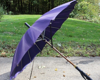 SALE- Victorian Silk Parasol- Purple w/ Embossed  Handle, Strap & End- Wooden Shaft- 1800's Antique Folding Carriage Umbrella- Faded purple