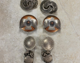 Vintage Earring Lot- Choice of Three Pairs- Large Clip-on Earrings- Native American Style- Lightweight Metal- Silvertone, Copper- Norma Jean