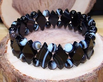 Black Sardonyx stretch bracelet - One size fits most - Genuine natural stone -Gifts for her - Gifts for him