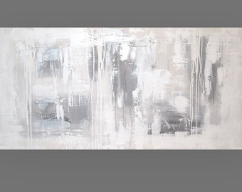 """Art and Collectibles, Painting, Modern Original Acrylic Abstract Painting Art on Canvas by Ora Birenbaum Titled: Let It Rain 24x48x1.5"""""""