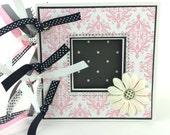 Pre-made Baby Girl Mini scrapbook album pink black grey