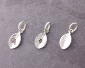 Add On Charms, silver leaf charm, initial charm, mini leaf charm, personalized leaf, leaf, add charms, charm bracelet, AD