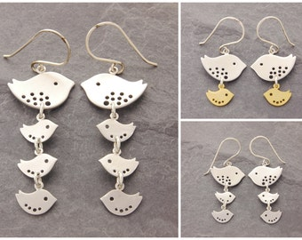 Mother Bird Earrings, mother daughter, mom and daughter, jewelry for mom, mother jewelry, baby shower gift, baby bird earrings, N12