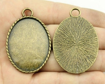 3pcs 30x40mm Antique Brozne Oval Cameo Cabochon Setting Pendant - Blank Bezel Setting Trays Finding DT178