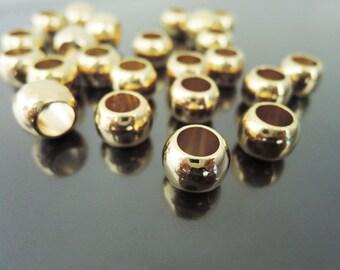 6pcs Gold Round Plastic Beads 11mm x 9mm ( Hole 6.5mm Diameter )