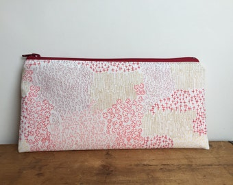 Pink and Red Geometric Pencil Case, Zipper Pouch, Back to School, Red Zipper, Toiletry Pouch, makeup bag