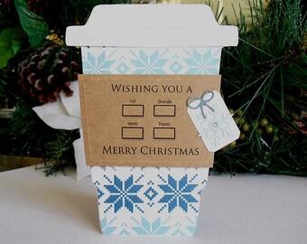 Merry Christmas SNOWFLAKE Quilt   Latte Gift Card Holder