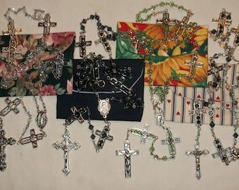 Cross frame Rosary, Handmade silver, green, clear or blue Catholic handmade Rosary w/pouch