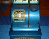 Blue 1959 Uncle Sam's 3 Coin Register Bank • The Durable Toy and Novelty Co.