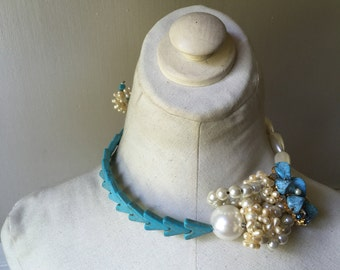 Pearl Turquoise Brooch Chevron Pearl Ribbon Statement Necklace Jewelry by ZILLAS QUEEN