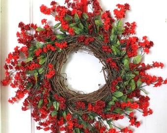 Red Floral Wreath, Home Decor, Front Porch Decor, Front Door Grapevine Wreath