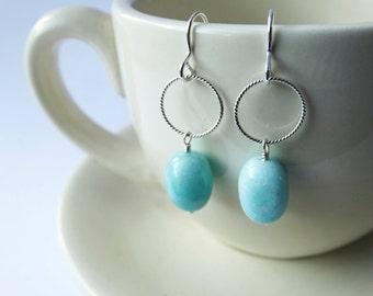 Amazonite & Silver Earrings - Sterling Silver