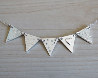 Silver Bunting Necklace - 5 Flags, Sterling Silver