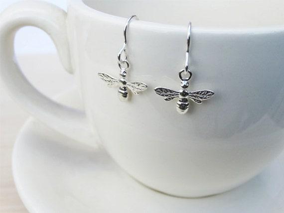 Silver Bee Earrings - Sterling Silver