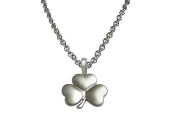 Silver Toned Shamrock Clover Pendant Necklace