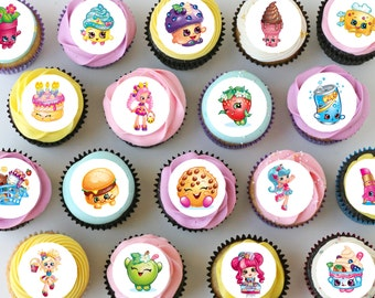"Shopkins Mini Edible Cupcake Toppers - 1"" - PRE-CUT"