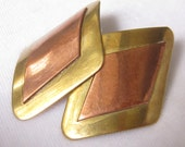 SALE Copper & Brass Earrings are Contoured Diamond Shape.  1970's Vintage with Post Backs.
