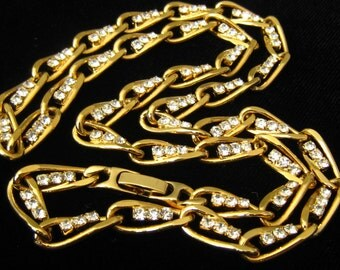 """CLEARANCE 22""""  Rhinestone & Gold Finished Vintage Chain Link Necklace with Fold Over Clasp."""