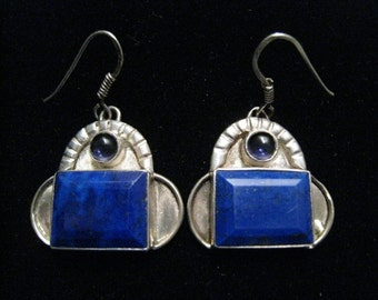 Lapis & Sterling Silver Drop Earrings with Bezel Set Large Rectangular Lapis Lazuli and Small Amethyst Purple Cabochon.