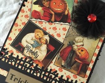 Vintage Halloween Scrapbook, Blank Photo Album by Island Lilly Designs