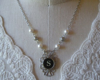 Typewriter Key Necklace with Pearls and Filigree Beads -- Your Choice Of Letter--