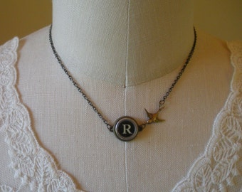 Typewriter Key Necklace with Bird Charm--Your Choice of Letter--
