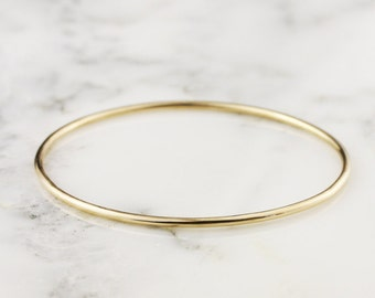 2mm 14k Gold Bangle Bracelet - Simple Gold Bracelet - Stacking Bangle Bracelet