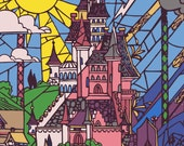 The Enchanted Castle, Stained Glass.. disney , digital download jpeg