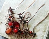 "Hair comb, hair pin, hair fork, metal hair stick ""Red Queen"", wire wrap hair accessories, gypsy bohemian"