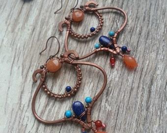 Arabic CopperEarrings  Wire Wrapped Bohemian Copper Earrings -  BohoTribal Earrings - Lapis lazuli, turquoise - Blue orange