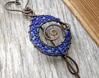 Celtic Shawl pin, Copper wire sweater pin or scarf pin in swirly design, blue wire brooch