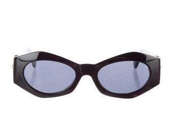 10,000 LIKES 7 Day Sale 90s GIANNI VERSACE Geometric Cat Eye Medusa Head Thick Black Vintage Designer Sunglasses