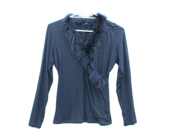90s MARABOU Ostrich Feather Fluffy Shaggy Faux Fur Collar Long Sleeve Wrap / Crossover Crop Top