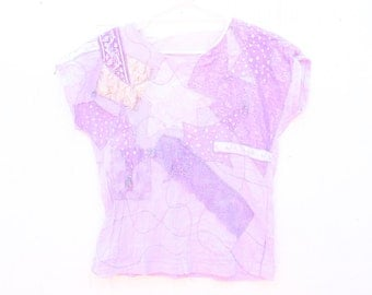 Totally Unique 90s Pastel Patchwork Festival Doof Crop Top / Tee T Shirt