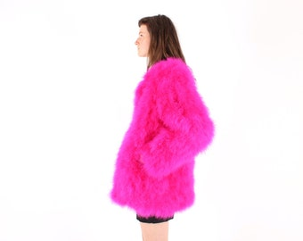 Full Marabou / Ostrich Feather Shaggy Mongolian Style Fur Rolling Stones Groupie / Club Kid / Almost Famous Pink Swing Jacket / A Line Coat