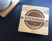 "Personalized Coaster Set 6 Custom Engraved Bamboo Coasters ""Bar set""  Unique Wedding Gift, Housewarming Gift"