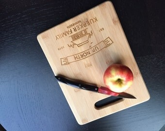 "Personalized Cutting Board - Custom Engraved ""Up North Cabin""  Unique Wedding Gift, Housewarming Gift"