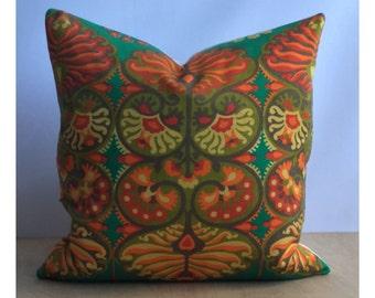 "Cushion Cover Vintage Popinjay By Jyoti Bhomik 18"" x 18"" Boho Throw Pillow"