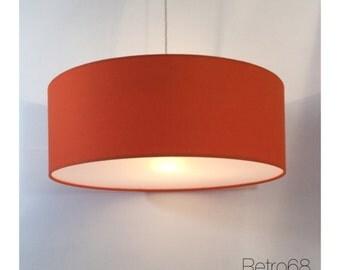 Large Oversized 60cm Drum Orange  Lightshade With Diffuser