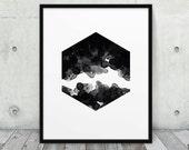 Abstract Polygon Printable. Black & White Geometric Hexagon Print Abstract Watercolor. Modern Wall Art Home Office Decor. DIY Digital Print