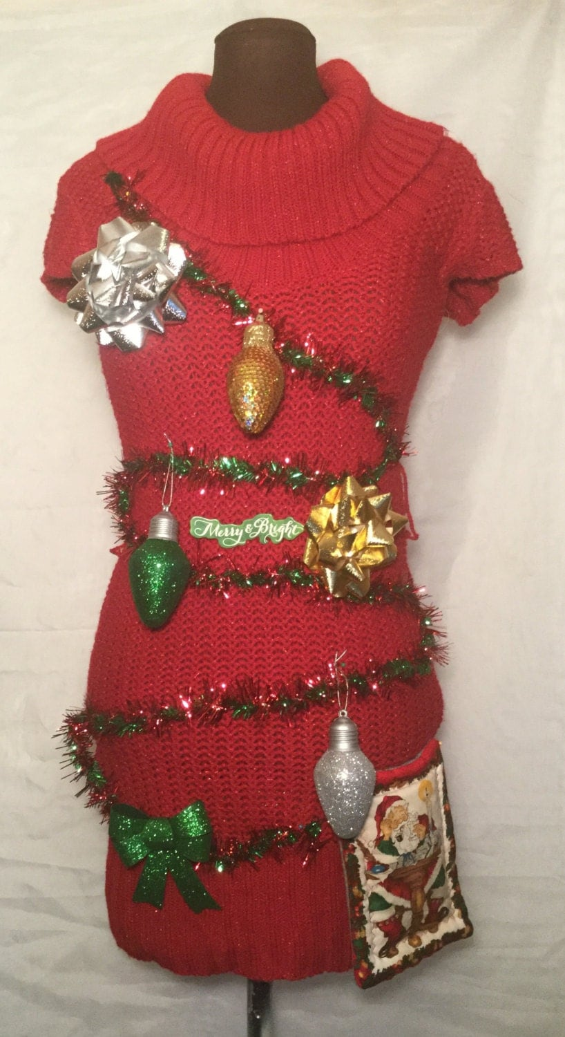 Ugly Christmas Sweater Dress Medium Merry And Bright Santa
