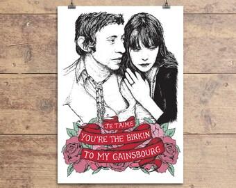 Jane Birkin and Serge Gainsbourg - Valentine's Greeting Card