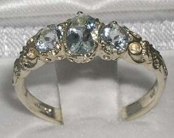 English 14K White Gold  Natural 3 Aquamarine Ring, Aqua Wedding Ring, Vintage Style 3 Stone Trilogy Band - Customize:14K,18K Gold