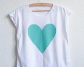 Love Heart Organic T-Shirt: Peppermint Green