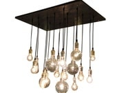 Industrial Chandelier With Vintage Bulbs & Your Choice of Socket Colors