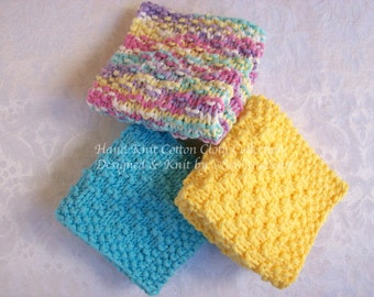 Dish Cloths, Wash Cloths, Face Cloths, Spa Cloths - Three Hand Knit Cotton Cloths for French Country Kitchen or Bath
